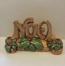 Vintage Candle Holder Christmas Noel Chalkware Plaque/Candle Holder mantle top