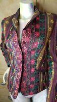 Caroline Charles London Floral Ruffle Trim Slip Wrist Blazer Top Jacket Size 6