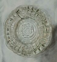 """Beautiful KIG Indonesia 6"""" Clear Heavy Glass 3 Slot Ashtray Cigar Embossed Roses"""