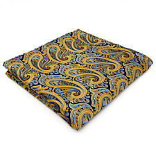 UH13 Paisley Blue Yellow Mens Pocket Square Large New Design Silk Hanky Wedding