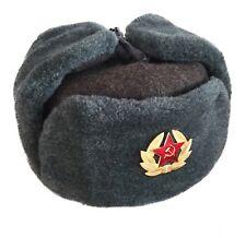 Russian Soviet Military USSR Army Cossack Trapper Fur Ushanka Winter Hat Badge