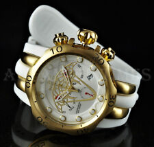 Invicta 52mm WHITE Venom Viper Chronograph 18k Gold Plated Case Silicone Watch