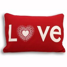 Paoletti Love Hearts Applique Wool Boudoir Cushion Feather Filled 35cm x 50cm