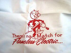 """1950's Large Fun """"Reddy Kilowatt""""  Plastic Apron or Bib w/ Red Striped Trim *"""
