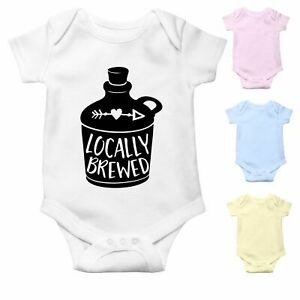 Locally Brewed   Funny Baby Grow Baby Bodysuit Baby Vest   Baby Shower Gift