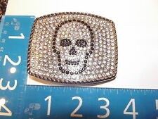 New Belt Buckle Skull Outlined with Black Rhinestones and clear Rhinestones