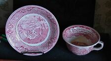 Vntg British Anchor Pottery Staffordshire Red & White Lg Soup Cup & Saucer Court
