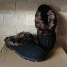 UGG COQUETTE BLACK LEOPARD SUEDE SHEEPSKIN SLIPPERS SHOES US 7 WOMENS 1003649