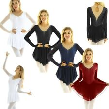 Women Figure Ice Skating Dress Custom Long Sleeve Fingertip Ballet Dance Leotard