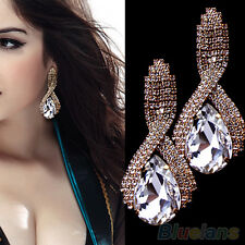 LADY RHINESTONE TEARDROP CRYSTAL DROP BRIDAL GLAMOUR WEDDING PARTY STUD EARRINGS