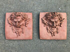 Lot of 2 Sensational Antique Concrete Demon Tiles w  Terracotta Paint