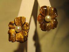 BEAUTIFUL RARE VTG 14K GOLD GENUINE Tiger's Eye Pearl Flower Lever-back EARRINGS