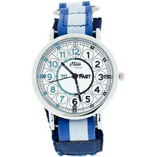 Relda Time Teacher Watch Easy Fasten Boy Girl Childrens Christmas Gift for Kids Quick Learn - Blue- Velcro
