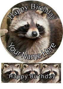 Cake Topper Birthday Raccoon personal Rice paper,Icing fondant Sheet.1161