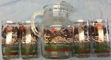 Fox Hunt Hunting Pitcher and 4 Ice Tea Glasses