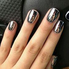 2Pcs Fashion Metal Mirror Effect Chrome Varnish Silver Nail Art Polish&Base Coat
