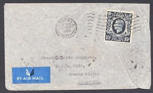1939, SG478, 10/-, Dark Blue, KGVI, Rare SINGLE USAGE, Cover, GB, UK, Britain