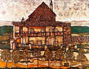 House with Shingle Roof by Egon Schiele A1+ High Quality Canvas Print