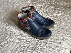 Rieker Z6784-14 Blue Combination Boots, UK 6/EUR 39