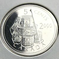 2000 Proof Canada 5 Cents Uncirculated Canadian Silver Coin Five Cents N645