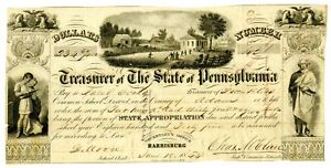 Treasurer of the State of Pennsylvania, 1845 $234.60 I/C Check, VF UBSH #42
