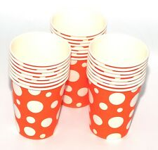 24 Paper CUPS (9oz) Polka Dots Colours Birthday Party Tableware Catering Orange