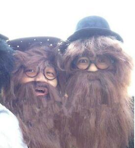 Women Men Brown Fake Big Long Beard Mustache Wigs Halloween Party Costume set