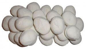 20 WHITE GAS FIRE REPLACEMENT PEBBLES COALS STONES 60MM LIVING FLAME MADE IN UK