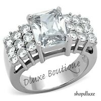 4.75 Ct Radiant Cut AAA CZ Stainless Steel Engagement Ring Women's Size 5-10