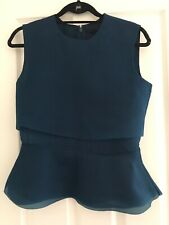 Cos Teal Sleeveless Top Layered Blouse Size 10 12