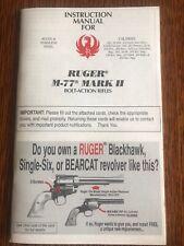 Ruger M-77 Mark II Bolt Action Rifle Instruction Manual Parts List 2000