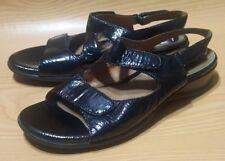 Clarks Artisan Ankle Strap Sandals 9.5 N Black Patent Open Toe Shoes