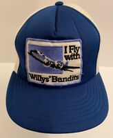 Vintage 1970's I FLY WITH WILLY'S BANDITS Snapback Mesh Blue Trucker Hat RARE