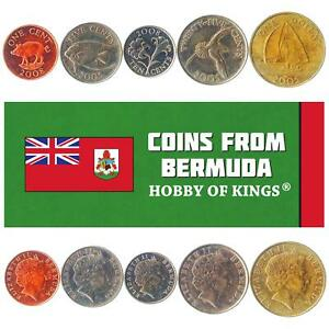 SET OF 5 COINS FROM BERMUDA. 1, 5, 10, 25 CENTS, 1 DOLLAR. 1999-2017