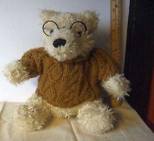 "Dan Dee Collectible 10"" Sitting Plush Stuffed Teddy Bear w/Sweater and Glasses"