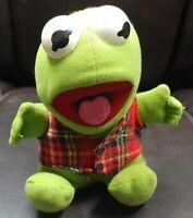 "Vintage 1987 Kermit The Frog Baby Plush Stuffed Animal Muppets Jim Henson 6"""
