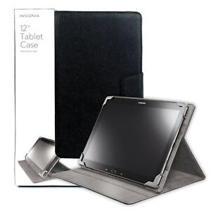 """Insignia Durable Leather Folio Case For Most Tablet 12"""" Inch - Black"""