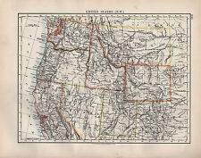 1904 ANTIQUE MAP ~ UNITED STATES NORTH WEST ~ NEVADA OREGON WYOMING MONTANA