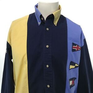 Vintage TOMMY HILFIGER Men's Long Sleeve Multicolor Embroidered Button Up Shirt