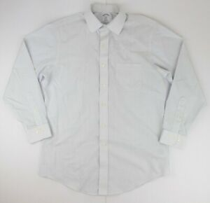 BROOKS BROTHERS Size Medium White Striped Casual Formal Dress Shirt (15.5-15.75)