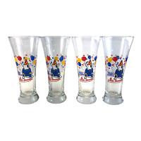 Set of 4 Vintage 1987 Bud Light Spuds Mackenzie Glass Beer Cup Anheuser-Busch