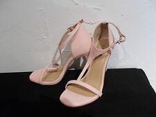 BNWT Talla 7/41 Con Textura Rosa Pastel Efecto Ante Tacón Stiletto Zapatos Con Tiras