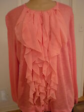 NWT Kate Hill top/ lightweight cardigan long sleeves in persimmon+details sz 2X