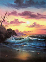 Charming Oil painting seascape ocean waves with sunrise in the morning canvas