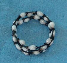 Handmade bracelet: Hawaiian white Job's Tears and black seed and bugle beads
