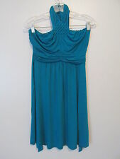 Gilli Blue Halter Tie  Ruched Tie Back Waist  Mini Dress  SIZE:S