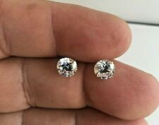 14K SOLID YELLOW GOLD STUD EARRINGS W/ 4 CARATS ROUND LAB DIAMONDS / SCREW BACK