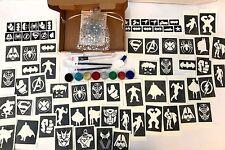 GLITTER Tattoo Kit SUPEREROI SPIDERMAN IRONMAN FLASH 90 Grandi 60 MINI STENCIL