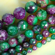 """4/6/8/10MM Natural Faceted Green Ruby In Zoisite Round Gemstone Loose Beads 15"""""""
