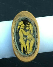 ROMAN ANCIENT GOLD PLATED WITH GOLD EROTIC GLASS SANDWICH RING- R0101